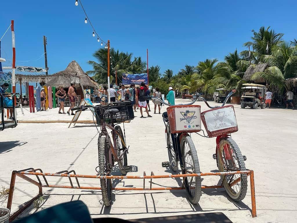 Bikes on beach in Holbox